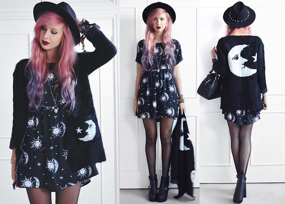H&M Spike Fedora, She Inside Moon Cardigan, Motel Rocks Moon & Star Tiara Dress, Fashion Union Buckle Heels, Vivienne Westwood Bowling Bag