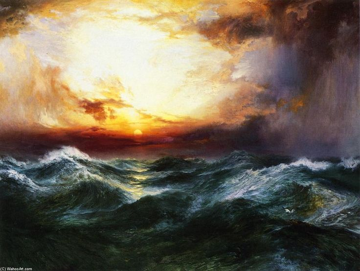 Sunset after a Storm, Oil On Canvas by Thomas Moran (1837-1926, United Kingdom)