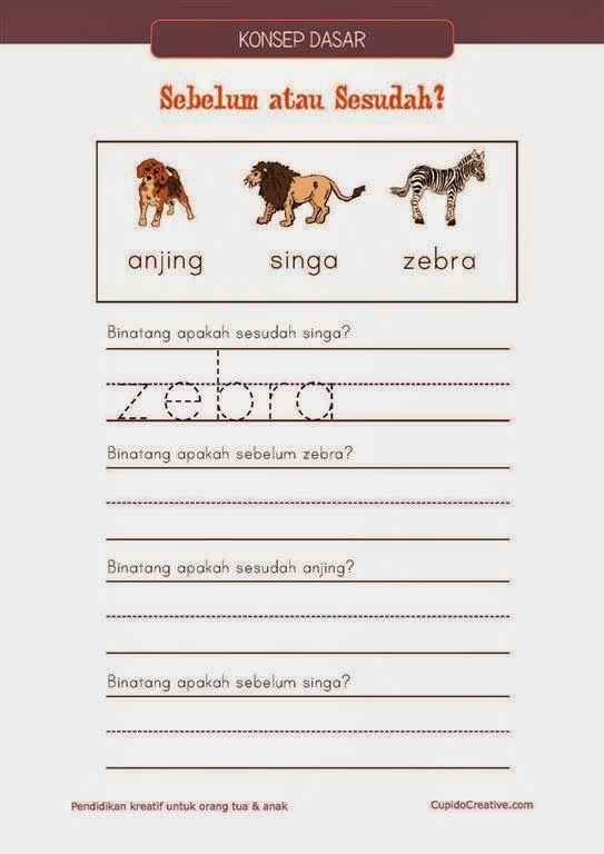 """belajar anak PAUD/balita/TK : konsep dasar tentang """"sesudah"""" dan """"sebelum"""" menggunakan gambar hewan"""