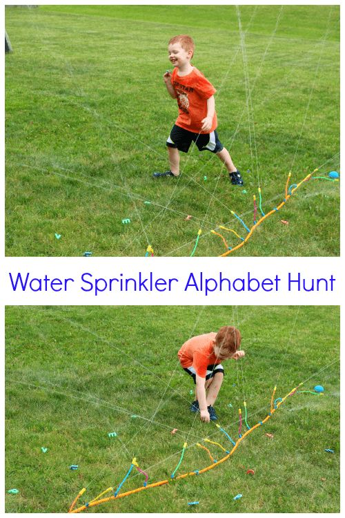 Learning ABCs with an Alphabet Hunt in the Water Sprinkler. A preschool letter learning activity.