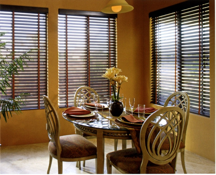 Beautiful Dining Room Wood Blinds