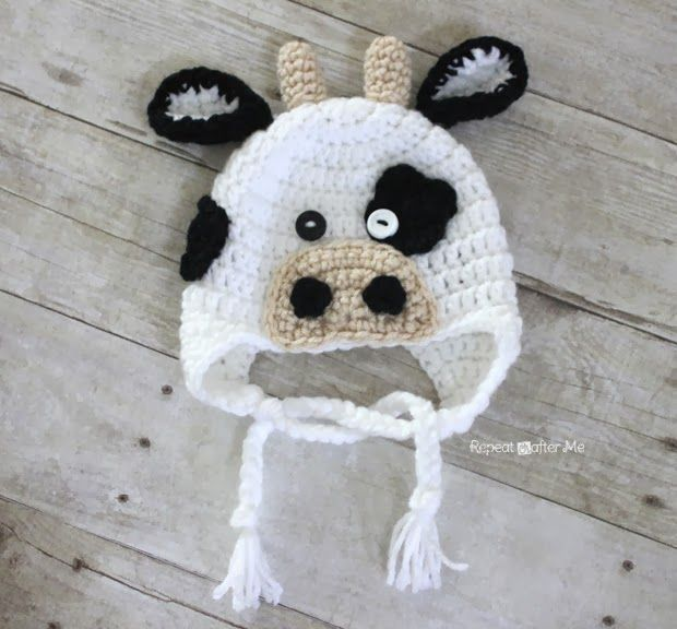 I love this little moo cow crochet hat :) I think it is actually my new favorite! I made this one very gender neutral but I plan on making another one with a pink snout, ears, and a little crochet bow