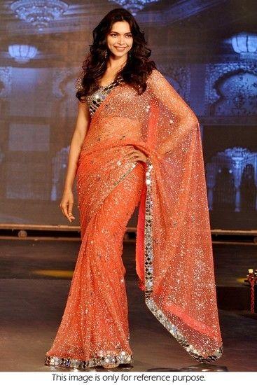 Deepika Padukone Orange Fancy Designer Stylish Saree - Try n Get Sarees for indian woman