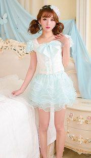Sweet aqua princess gauze tutu flounce skirt