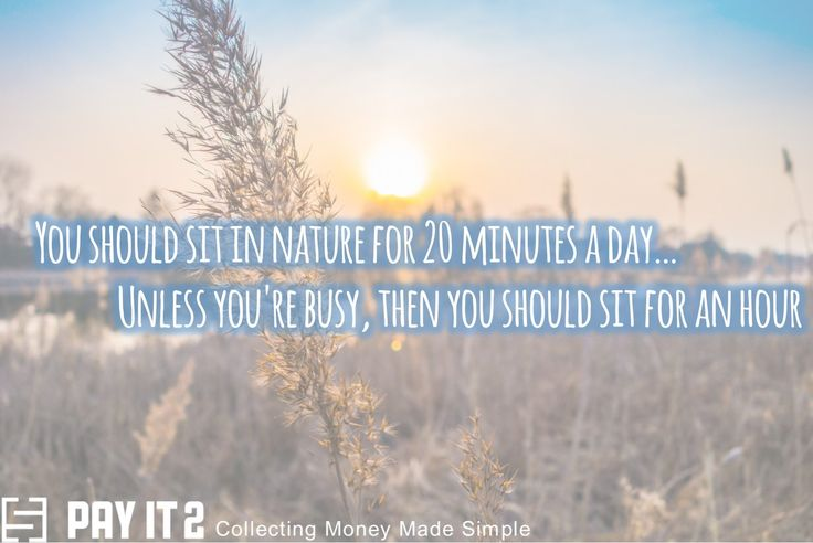 You should sit in nature for 20 minutes a day. http://www.payit2.com/