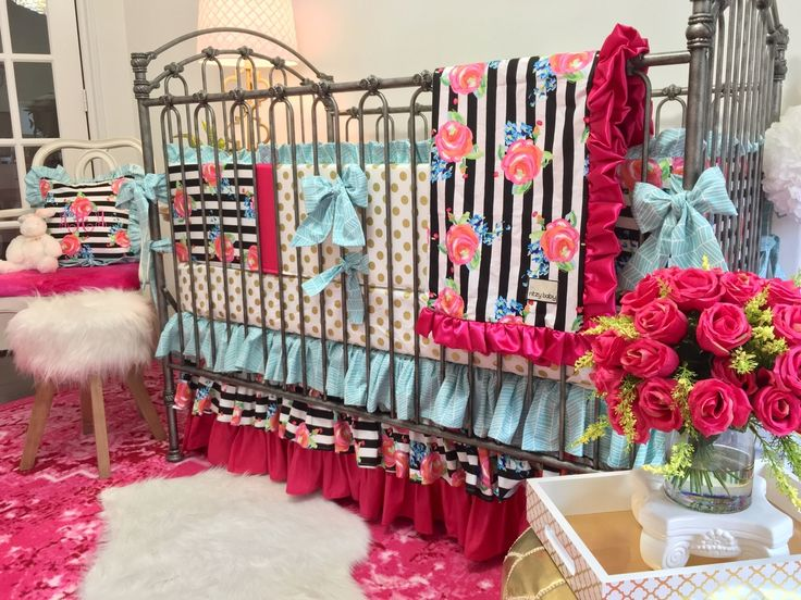 Baby Bedding - Watercolor Floral Stripe, Gold Dot, Aqua, and Hot Pink