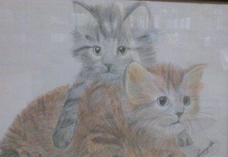 This drawing was done by my sister and is two cats I had in my teens. this is in the office wall...