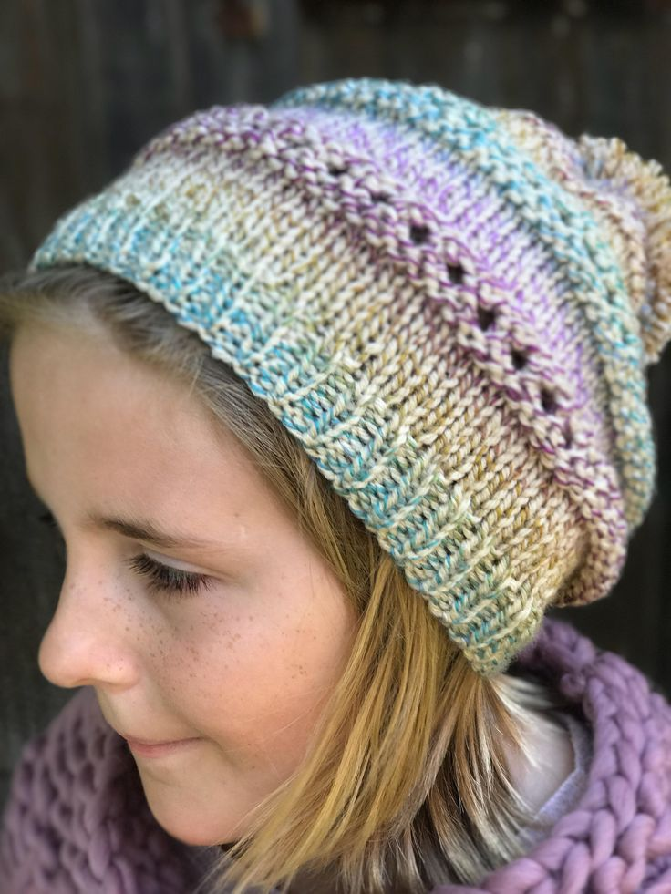 Rainbow Winter Hat, Oversized Beanie, Bohemian Fashion, Slouchy Toque, Girls Winter Hat, Knit Hipster Hat, Hippie Style, Pom Pom Hat