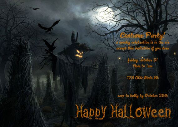 personalized halloween party invitation card digital file by celebrationcity 1000 - Halloween Party Wallpaper