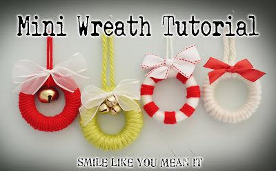 Smile Like You Mean it: Ornament #1: Mini Wreath Tutorial- using shower curtain rings