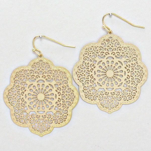 Crochet Lotus Earrings in Matte Gold