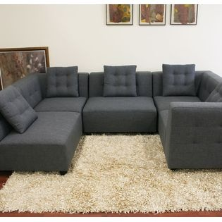 Sectional Sofa one arm Baxton Studio Alcoa Gray Fabric Modular Modern Sectional Sofa By Wholesale Interiors