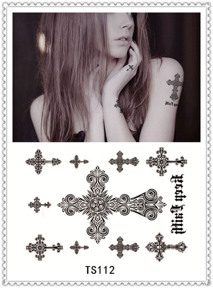 YEEECH Temporary Cross Tattoos Sticker for Women Fake Transfer Sex Products Body Art Black Scar Decals Makeup Waterproof Cover #Affiliate