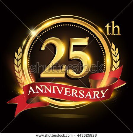25th golden anniversary logo, 25 years anniversary celebration with ring and red ribbon, Golden anniversary laurel wreath design. - stock vector