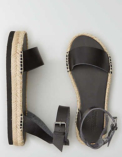 AEO Flatform Espadrille Sandal, Tan | American Eagle Outfitters