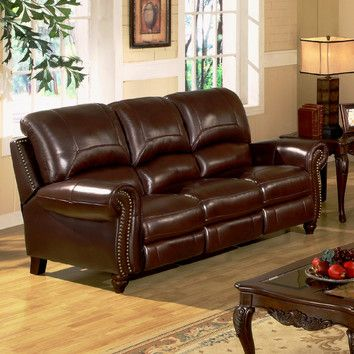 Part #: CH-8857-BRG-3 877-WAYFAIR (877-929-3247)|SKU #: BYV1067 Abbyson Living Charlotte Leather Reclining Sofa $1299: Leather Recliners Sofas, Charlotte Leather, Abbyson Living, Leather Sofas, Living Charlotte, Leather Pushback, Buy Sofas, Charlotte Recliners, Sofas Beds