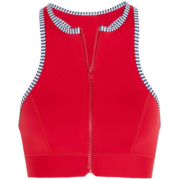Duskii Iao Valley neoprene bikini top ($64) ❤ liked on Polyvore featuring swimwear, bikinis, bikini tops, red, swim tops, neoprene bikinis, red bikini, zipper bikini and red bikini top