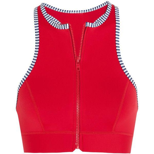 Duskii Iao Valley neoprene bikini top (84 AUD) ❤ liked on Polyvore featuring swimwear, bikinis, bikini tops, red, swimsuit tops, thermal swimwear, swim suit tops, zipper bikini and swim tops