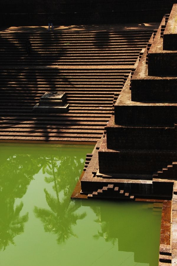 Stepped water tank or pool at the Peralasseri Subrahmanya Temple in Kerala