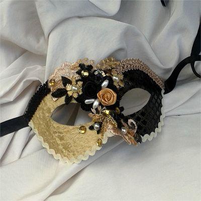 Gold & Black Venetian Female Mask - www.vivashe.co.za