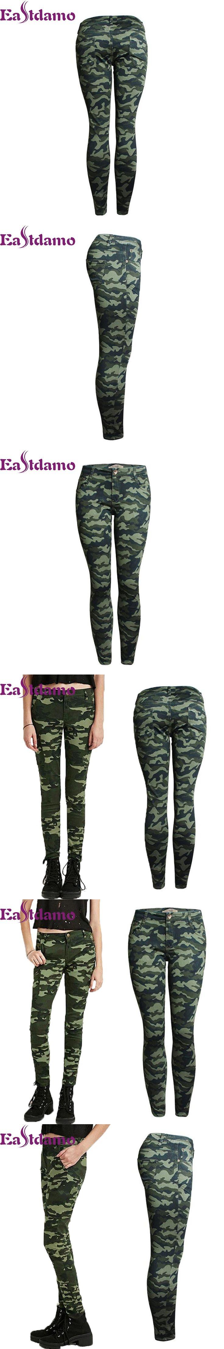 Eastdamo Plus Size S-XXXXXL Women's Camouflage Jeans Army Green Skinny Trousers Slim Fit Pencil Denim Pants High Waist Jeans