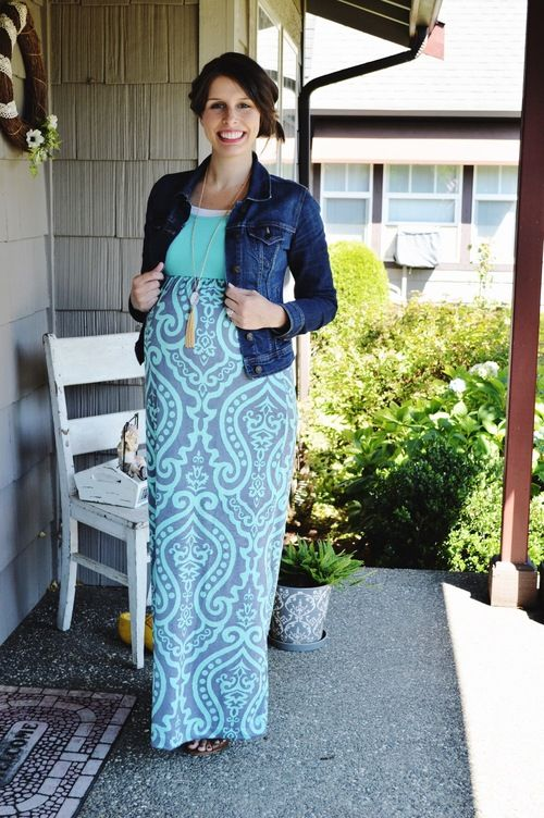 abdaf4c73a8a 5 ways to style one maternity maxi dress and shows how it looks prior to  pregnancy and during the second and third trimesters. How to wear maxi dress  spring ...