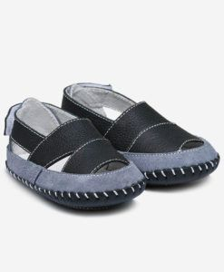Little Blue Lamb | Logan | Baby boys leather sandals Black and grey combine in these stylish baby boys leather sandals.