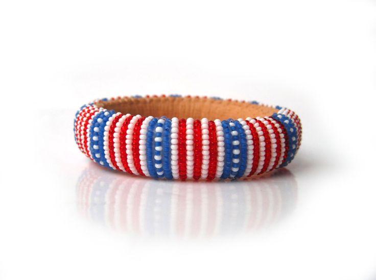 Amerikanische Flagge rot-weiß-blaue Armreif fühlte sich von MaGabi