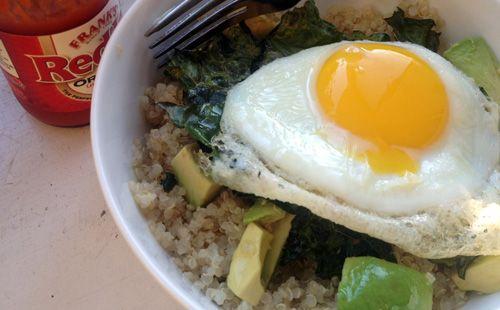 Quinoa, Kale, Avocado, and Egg Bowl