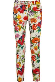 Moschino Floral-print mid-rise skinny pants  | NET-A-PORTER