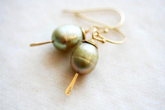 Sage Green Pearl Earrings Simple Drop Earrings14 by madebymoe