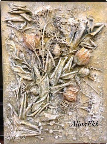 Декор предметов Картина панно рисунок День рождения Ассамбляж Букет с розами Терра  фото 1