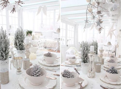 """Une décoration de table """"shabby chic"""" pour Noël http://www.homelisty.com/deco-de-noel-2016-101-idees-pour-la-decoration-de-noel/"""