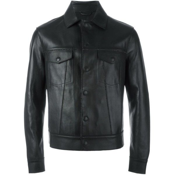 Emporio Armani buttoned leather jacket ($1,776) ❤ liked on Polyvore featuring men's fashion, men's clothing, men's outerwear, men's jackets, black, mens button up leather jacket, mens button up jacket and mens leather jackets