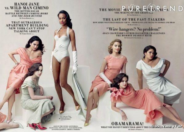 Alice Braga, Ellen Page, Zoë Saldana, Elizabeth Banks, Ginnifer Goodwin, et America Ferrera en couverture intérieure du Vanity Fair Hollywood Issue 2008.