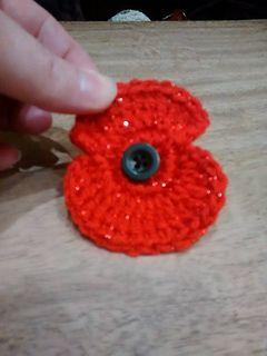 Remembrance Day Poppy - Free Crochet Pattern by Helen Wilcock.