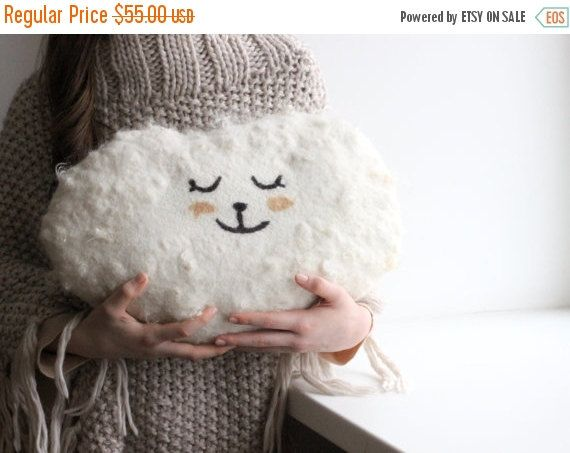 SPRING SALE Cloud pillow  Felted wool pillow  by AgnesFelt on Etsy