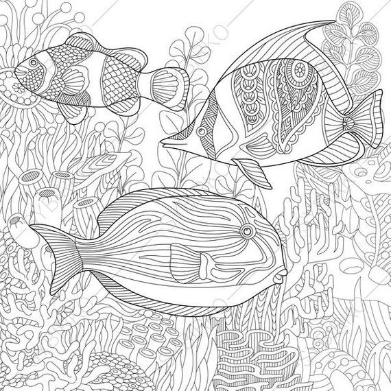 Ocean World. Tropical Fishes. Coloring Pages. Animal