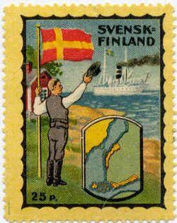 Det finlandssvenska frimärket, med egen flagga, utgivet av Svenska Folkpartiet , anno 1922