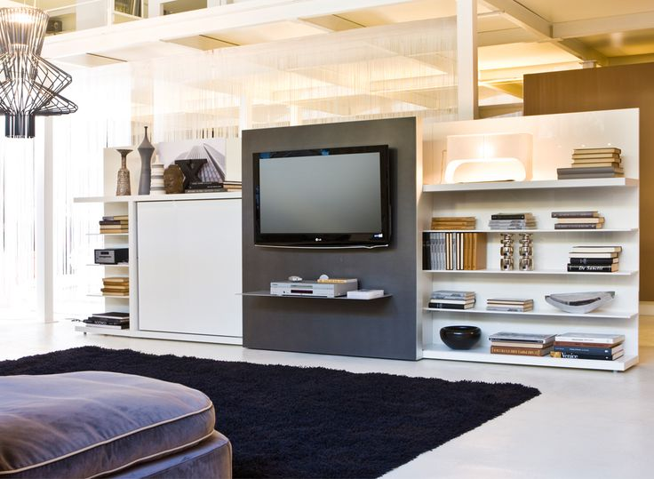 The Poppi Theatre is a twin size wall bed that features a sliding television. This multifunctional murphy bed system can support up to a 42″ flat screen TV.