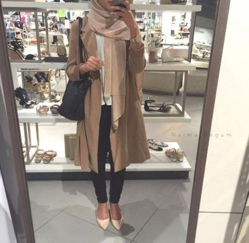 fall hijab layering look- Fall hijab outfits in warm colors…