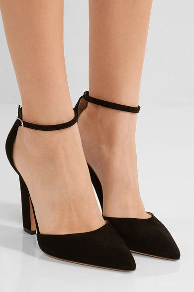 Heel measures approximately 105mm/ 4 inches Black suede  Buckle-fastening ankle strap Made in ItalySmall to size. See Size & Fit notes.