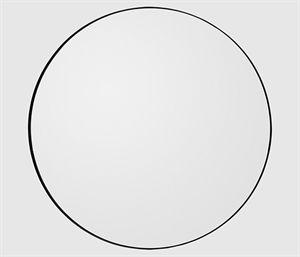 AYTM rundt spejl med en tynd, sort kant af metal. Kig ind og se det elegante spejl.