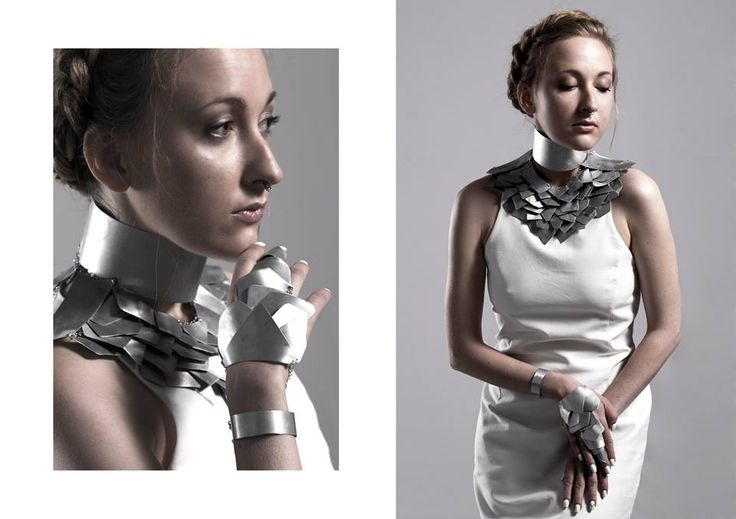 Jewellery - Woman's Armor Bachelor of Fine Arts in Scultpure Aleksandra Górecka / SAVVY Jewellery /   https://www.facebook.com/SAVVYjewellery   Bachelor Thesis / University of Fine Arts / Poznań, Poland / 2015  #armor #jewellery #jewelry #steel #feathers #metal #necklace #bracelet #ring #unique