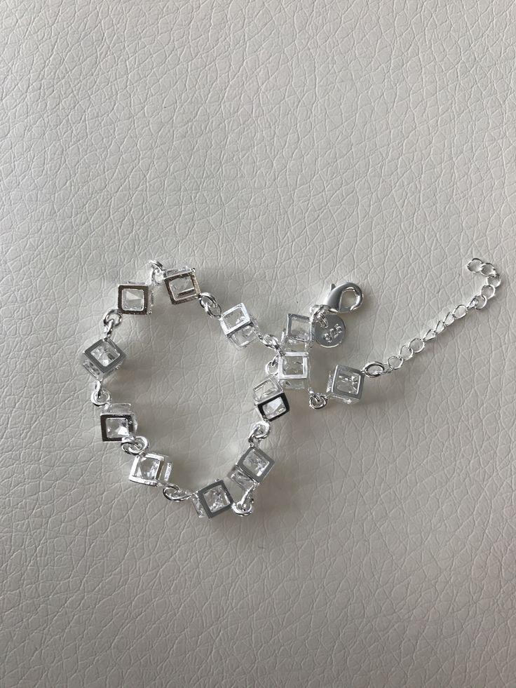 TIME & SPACE Austrian Crystal Square Charm Bracelet