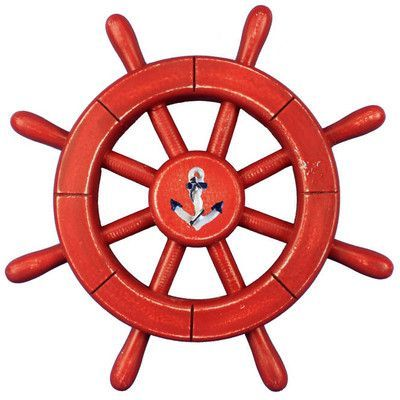 """Handcrafted Nautical Decor Decorative Ship Wheel with Anchor Wall Decor Size: 12"""" H x 12"""" W x 1"""" D, Color: Red"""