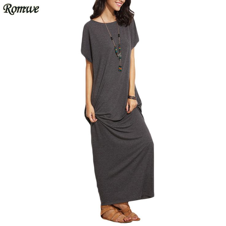 ROMWE Long Shift Dresses For Women Summer Ladies Heather Grey Round Neck Short Batwing Sleeve Casual T shirt Maxi Dress-in Dresses from Women's Clothing & Accessories on Aliexpress.com | Alibaba Group