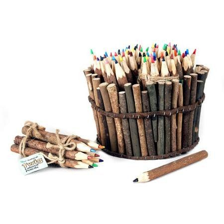 Natural Twig Colored Pencil Set - Go back to your roots with this fun ode to nature and the outdoors! A perfect desk decoration or for all your adult or kid coloring needs.