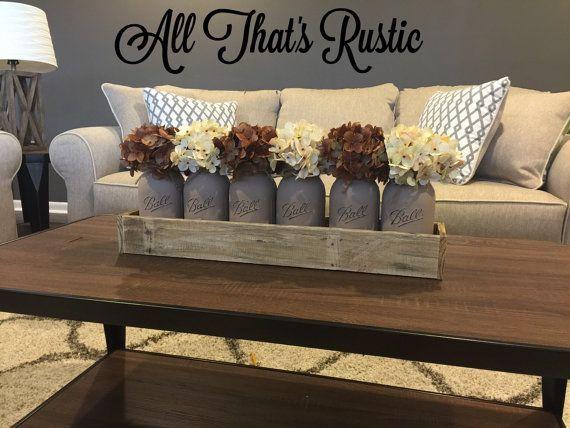 Love this ** Giant Mason Jar Centerpiece, Desk Centerpiece, Desk Decor, Kitchen Decor, Rustic House Decor, Painted Mason Jars, Centerpieces, Mason Jars