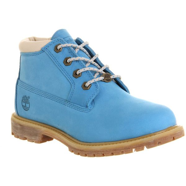 Timberland Nellie Chukka Double Waterproof Boots ($165) ❤ liked on Polyvore featuring shoes, boots, ankle booties, ankle boots, timberland, blue suede, women, suede ankle booties, waterproof boots and lace up ankle boots